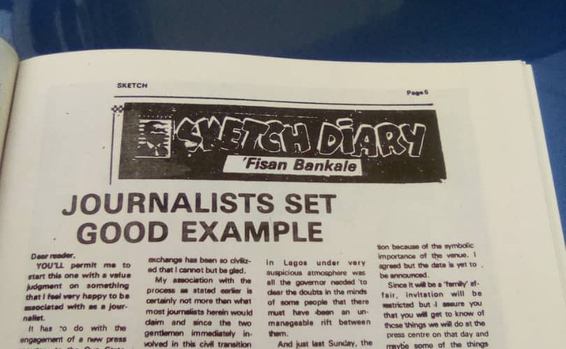From The Archive  By Oloye Lekan Alabi  RE: JOURNALISTS SET GOOD EXAMPLE